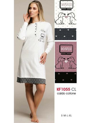 Camicia da notte donna in cotone caldo Karelpiu' KF1055 - CIAM Centro Ingrosso Abbigliamento