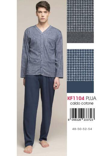 Pigiama uomo aperto in jersey di cotone caldo Karelpiu' KF1104 - CIAM Centro Ingrosso Abbigliamento