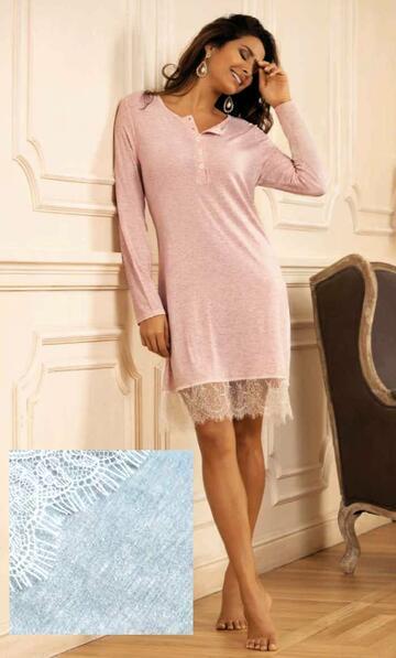 Lv25 camicia ml serafino notte donna - CIAM Centro Ingrosso Abbigliamento