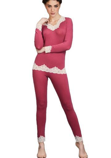 Pigiama donna con pizzo in modal e cashmere Pura P0486 - CIAM Centro Ingrosso Abbigliamento