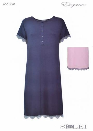 Camicia da notte donna manica corta in viscosa SieLei Elegance RC24 - CIAM Centro Ingrosso Abbigliamento