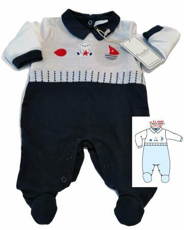 Tutina in cotone neonato Pastello TJ014Y - CIAM Centro Ingrosso Abbigliamento