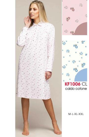 Camicia da notte con colletto in cotone caldo Karelpiu' KF1006 - CIAM Centro Ingrosso Abbigliamento