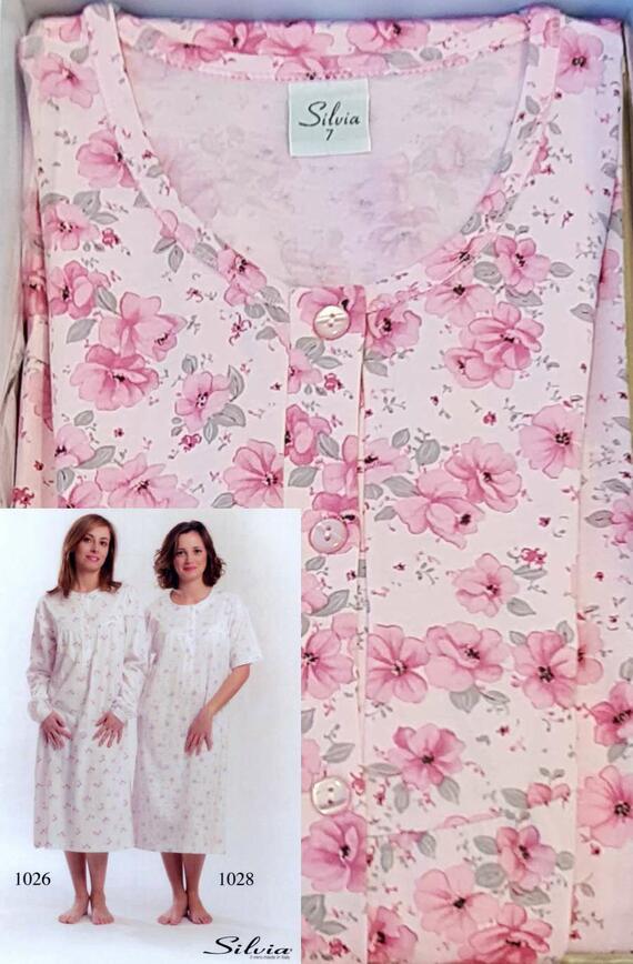 Camicia da notte a manica lunga donna in cotone Silvia 1026