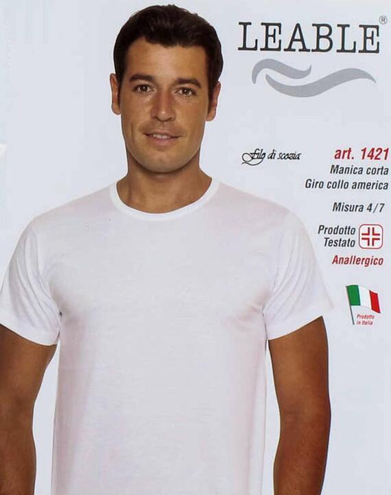 T-shirt uomo in cotone mercerizzato girocollo Leable 1421 Tg.8/9 Bianco