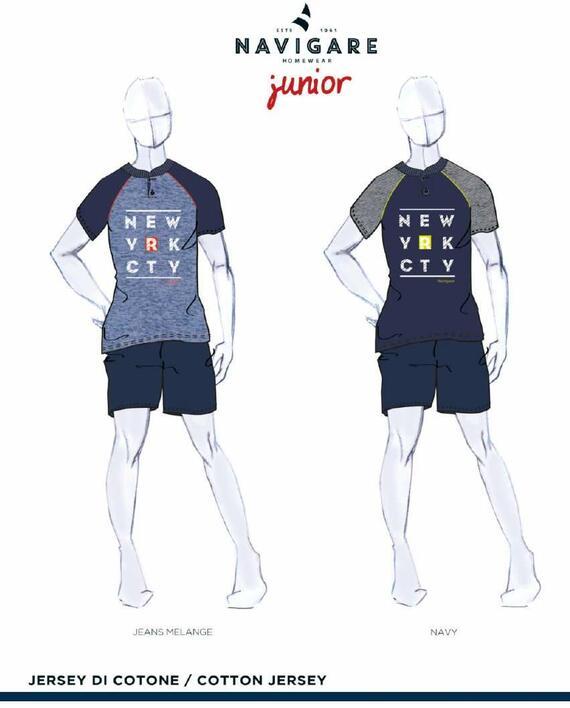Pigiama ragazzo corto in cotone Navigare Junior 215618