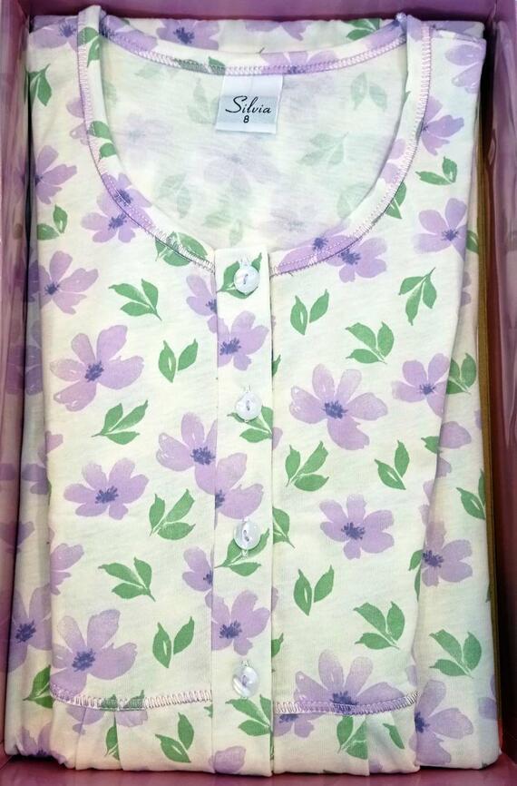 Camicia da notte donna a manica corta in cotone Silvia 41316
